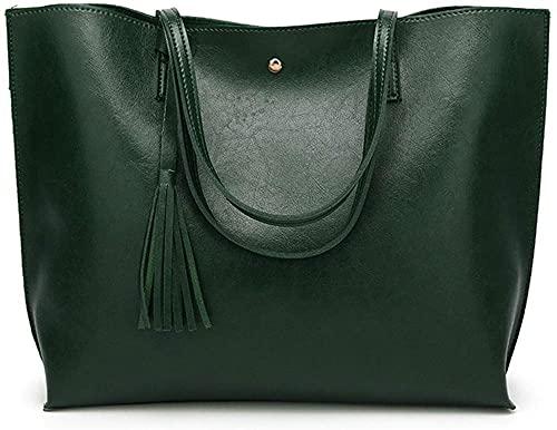 LEOCEE Borsa da donna Borsa a tracolla Borsa in pelle per donna Cartelle 1 (Colore : Marrone)-Verde