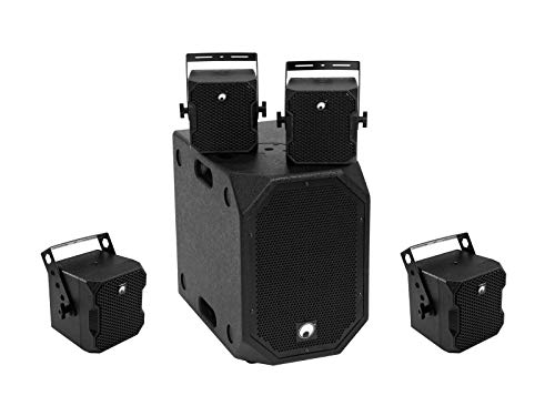 Omnitronic BOB-Set 1 Stück BOB-10A Subwoofer aktiv schwarz + 4 Stück BOB-4 Top 16 Ohm schwarz