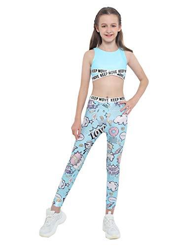 IEFIEL Conjuntos Deportivos para Niña Top Deportivo Estampado Moda+Leggings Largos Ropa Deporte de Correr Yoga Maillot Gimnasia Ritmica Azul 9-10 años
