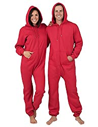 Red Adult Footless Hoodie One Piece