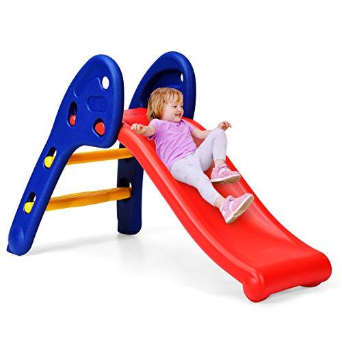 DREAMADE Kinder Rutsche Gartenrutsche mit Rutschfestem Pedal & Armlehnen, Rutschbahn mit Max.Belastung 50 kg, Kinderrutsche für Kinder von 3 bis 8 Jahren, für Garten Kinderzimmer Wohnzimmer (Modell 1)