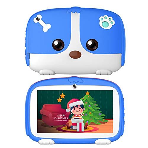 MXXQQ 7 '' Pulgadas Niños Tablet, Android 9.0 Procesador Pad Quad Core WiFi De La Tableta, 1 GB De RAM 16 GB De ROM, Correr hasta 1.8G, con La Caja A Prueba De Niños,Blue