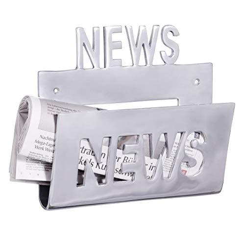 Wohnling Deko Wand Zeitungsstönder Alu-minium Zeitungshalter Metall Zeitschriftenhalter Industrial Style Silber-farben zum auf-höngen Vintage Zeitschriftenstönder höngend mit Ablagefach 30 x 27 cm