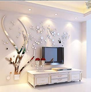Acrylic Art 3D Mirror Flower Wall Sticker DIY Home Wall Decal Decoration Sofa TV Wall Removable Wall Sticker(Silver Left)