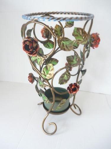 arterameferro Paragüero de hierro forjado redondo con rosas y hojas decorativas