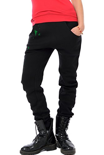 Coole lässige Freizeit Jogginghose Damen/Freizeithose Frauen schwarz/Boyfriend Style Hose mit Print Spiele Elfen von 3 Elfen Sporthose - grün XXL