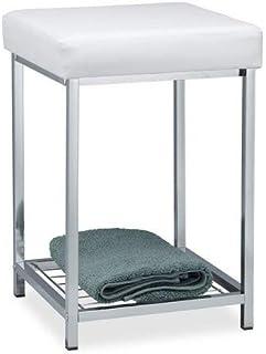 comprar comparacion Relaxdays Taburete Bajo Cuadrado Acolchado con Repisa, Hierro y Cuero Sintético, Blanco, 47 x 33 x 33 cm