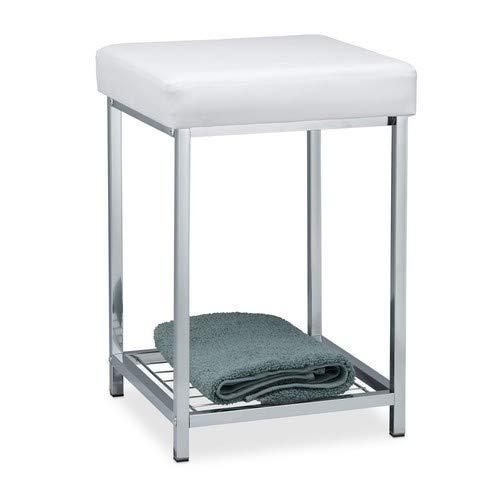 Relaxdays, weiß Hocker gepolstert, Kleiner Sitzhocker, Quadratisch, Polsterhocker mit Ablage, Badhocker, HBT 47x33x33cm