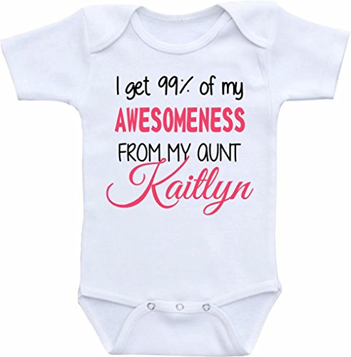 Promini Body humoristique avec inscription I get 99% of My Awesomeness from My Aunt pour bébé - Blanc - 2 mois