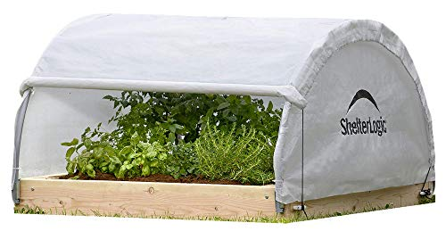 ShelterLogic 4' x 4' GrowIT Backyard Round Roof Style Raised Bed Greenhouse with Fully Closable Translucent Waterproof Cover (Wood Frame Not Included)