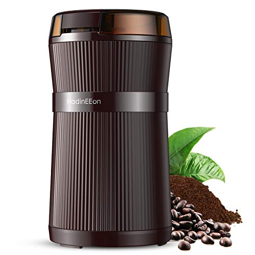 HadinEEon Electric Coffee Grinder, 200W Spice Grinder with Stainless Steel Blade & Bowl, One-Touch Control Coffee Bean Grinder for Nuts, Sugar, Grains, Clear Lid   Safety Switch   50g   Brown