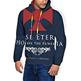 NUASGFB House Eternia - Sudadera con Capucha y Bolsillos de Terciopelo para Hombre, diseño con Texto en...
