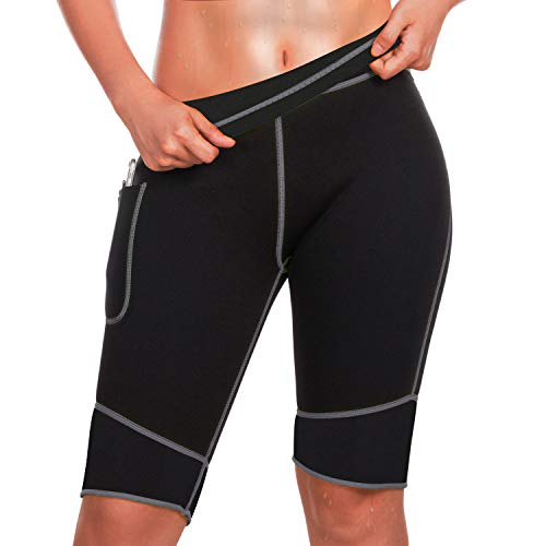 Bingrong Pantalones para Adelgazar Mujer Pantalón de Sudoración Adelgazar Pantalones Cortos de Neopreno térmicos para Ejercicio para Pérdida de Peso Deportivo (Negro, Large)