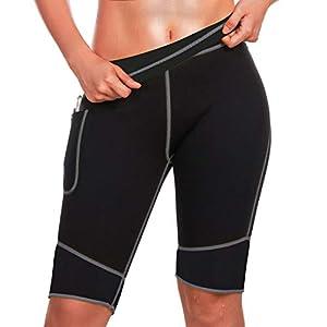 Bingrong Pantalones para Adelgazar Mujer Pantalón de Sudoración Adelgazar Pantalones Cortos de Neopreno térmicos para Ejercicio para Pérdida de Peso Deportivo (Negro, Medium)