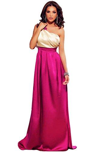 Vestido Mujer Largo - Elegante para Ceremonia y Eventos, Novia o Dama de Honor - para Fiesta Discoteca Moda Baile - M - Fucsia & Oro Champagne