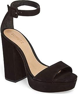 SCHUTZ Mikella Black Nubuck Suede Platform Ankle Strap Pump Sandal (9.5)