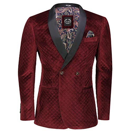Herren-Smoking-Jacke, gesteppt, zweireihig, passgenau, Smoking Dinner Blazer Gr. 46, Blazer-burgunderrot