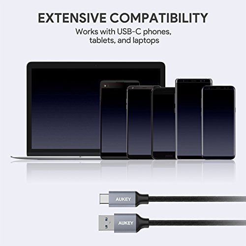 AUKEY USB C Cable to USB 3.0 A Braided [5 Pack] 3.3ft x 3, 6.6ft, 1ft USB Type C Cable Fast Charge for Samsung Galaxy S8 S8 Plus Note 8 Note 9, LG V30 V20 G6 G5, HTC U11/10
