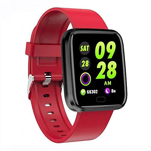 Novopus: Smart Armband Sport Step Fitness Tracker Blutdruck Pulsmesser IP7 Wasserdicht Smart Watch Farbdisplay für Android IOS, Rot