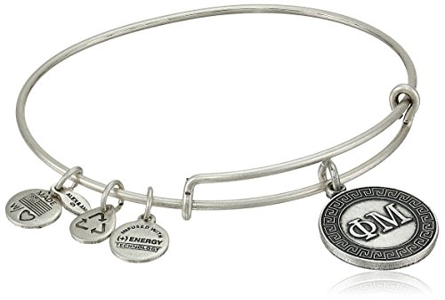 "Alex and Ani ""Sorority"" Phi Mu Expandable Rafaelian Silver-Tone Wire Bangle Bracelet"