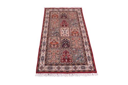 Klassischer handgeknüpfter Orient Teppich Ghom Felder aus Indien 162 x 88 cm