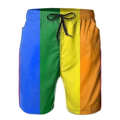Sunny R Bandera LGBT Pride Rainbow Uomo Nuotare Fare Surf Spiaggia Trunks Asciugatura Veloce Pantaloncini con Tasche XL