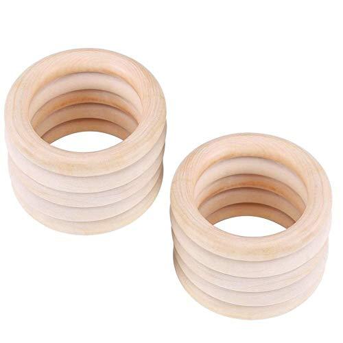 Voarge Baby Kinderkrankheiten Ring, Baby Beißringe Natürliches Wood Teether Zahnen Ringe für Babys Kinderpflege 10 Stück, Spielzeug Holz Armband DIY Handwerk (L)