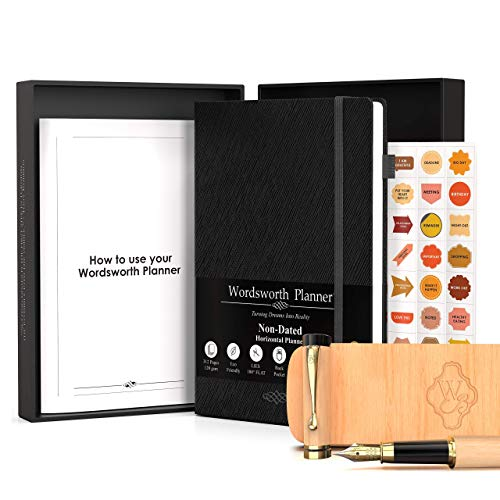 Wordsworth & Black Bundle of Wooden Bamboo Fountain Pen [Maple Wood] and Weekly, Monthly Planner for your Time Management, Goals, Business, Lasts 1 Year, (Black)
