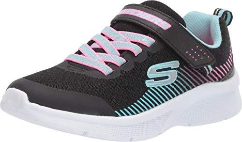 Skechers Damen MICROSPEC Sneaker, Schwarz (Black Mesh/Aqua & Neon Pink Trim BKAQ), 36 EU