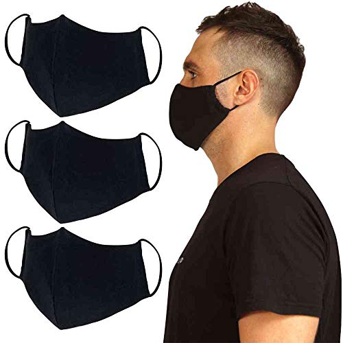 Joob Joob Black Cloth Face Masks for Protection - 3 Pack Unisex Black Face Masks Reusable & Washable - Adjustable Face Mask for Women & Men - 2 Layer Cotton Fabric Reusable Face Mask to Wear All Day