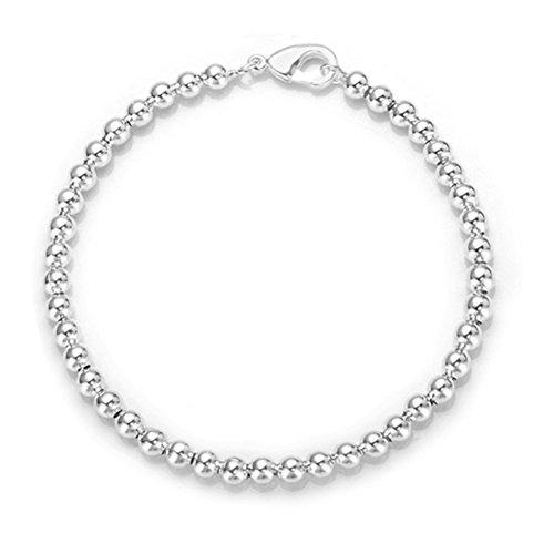NYKKOLA, classico braccialetto con perline, placcato argento Sterling 925lucidato