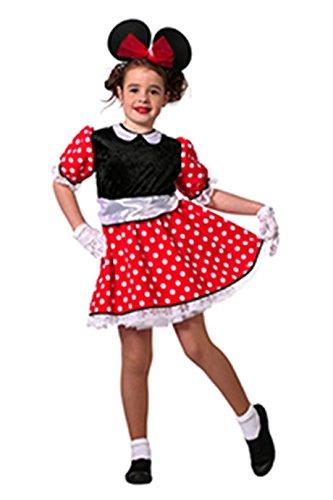 Maus Kostüm Mädchen Rot mit weißen Punkten Comic-Maus Minnie Fantasy Märchen Karneval Fasching Hochwertige Verkleidung Fastnacht Größe 164 Rot/Schwarz