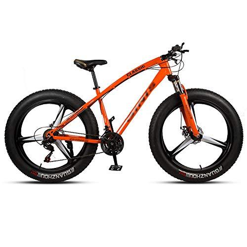 DFEIL 26 Zoll Mountainbikes, Fat Tire Variable Speed Fahrrad, High-Carbon Stahlrahmen Hardtail Mountainbike mit Doppelscheibenbremse, 3 Spoke (Color : 27 Speed)
