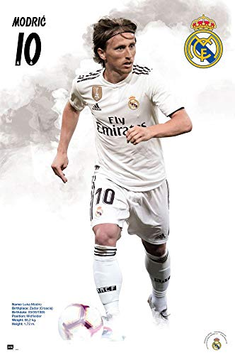 Real Madrid - Soccer Poster (Luka Modric - Player of The Year 2018 - in Action - Season 2018/2019) (Size: 24 inches x 36 inches)