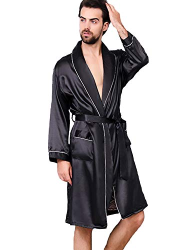 Haseil Men's Satin Kimono Robe Spring Summer Shawl Collar Sleepwear Classic Silk Bathrobes, Black1,Tagsize4XL=USsizeXL/2XL