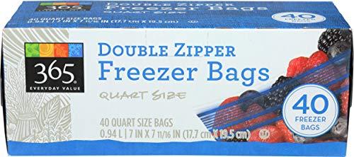 365 Everyday Value, Double Zipper Freezer Bags, Quart Size, 40 ct