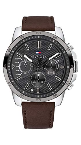 Tommy Hilfiger Herren Multi Zifferblatt Quarz Uhr mit Leder Armband 1791562