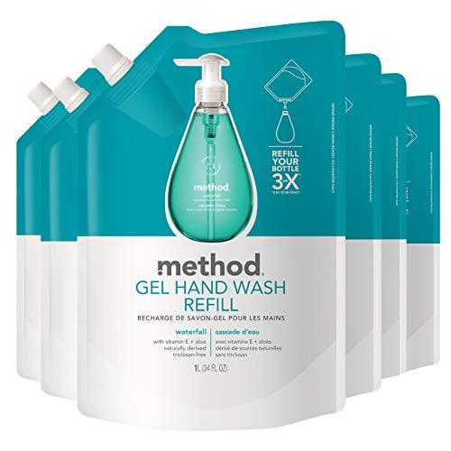 Method Gel Hand Soap Refill, Waterfall, 34 Fl Oz (Pack of 6)
