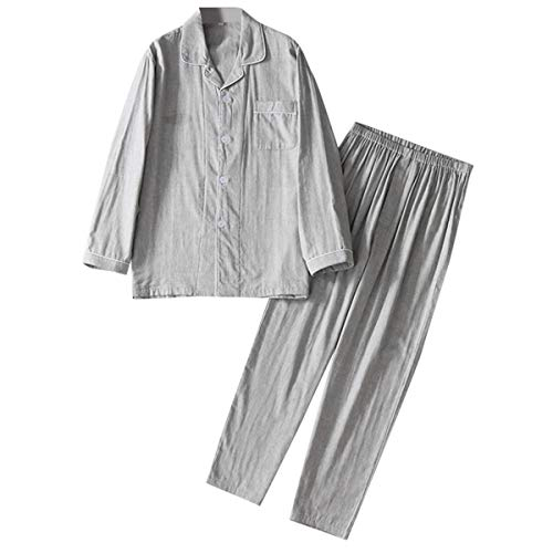 Cloudstyle Mens Cotton Sleepwear Button-Down Loungewear Long Sleeve Top & Pants Pajama Set,Gray,X-Small