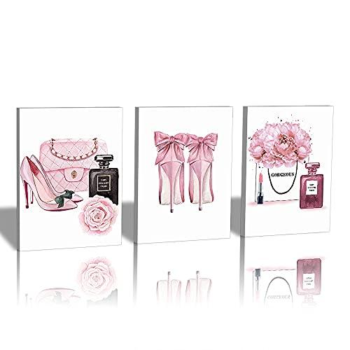 HPNIUB Moderne Poster Set mit Rahmen,Rosen Blumen Poster Wandbilder für Wohnzimmer Deko,Stilvolles Set mit passenden Bilder für Mädchen Frauen Schlafzimmer,Make Up Leinwand Bilder Kunstdruck Wanddeko