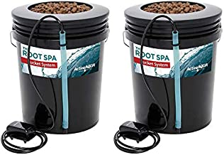 Active Aqua RS5GALSYS Root Spa 5 Gallon Hydroponic Bucket Deep Water Culture Grow Kit System with Multi-Purpose Air Hose and Air Pump, Black, 2 Pack