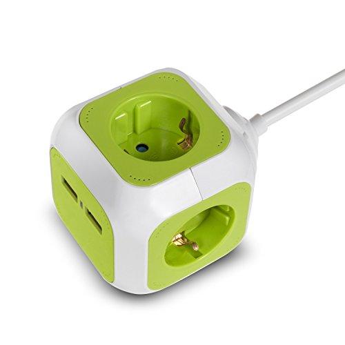 GreenBlue GB118G MagicCube 4-Fach Steckdosenwürfel mit 2 USB-Anschlüssen Steckdosen mit Kinderschutz 1,4m