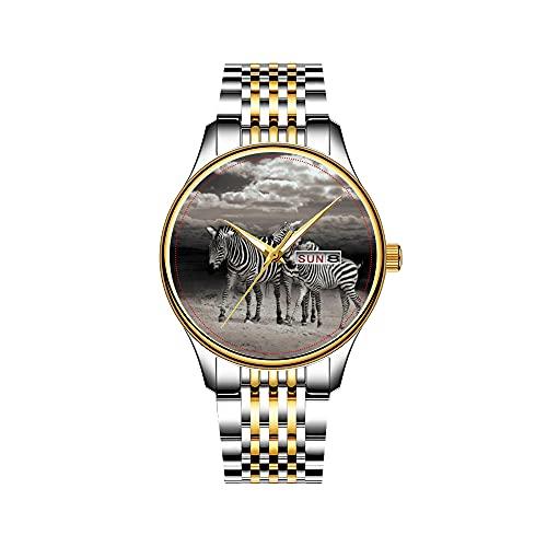 Reloj de pulsera para hombre, mecanismo de cuarzo, fecha, acero inoxidable, dorado, reloj de pulsera de cebra silvestre en África