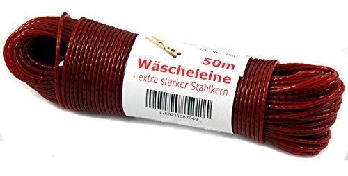 Haus&Garten Wäscheleine 50m Stahlseil wetterfest !! Top Qualität mit Stahlkern (rot)