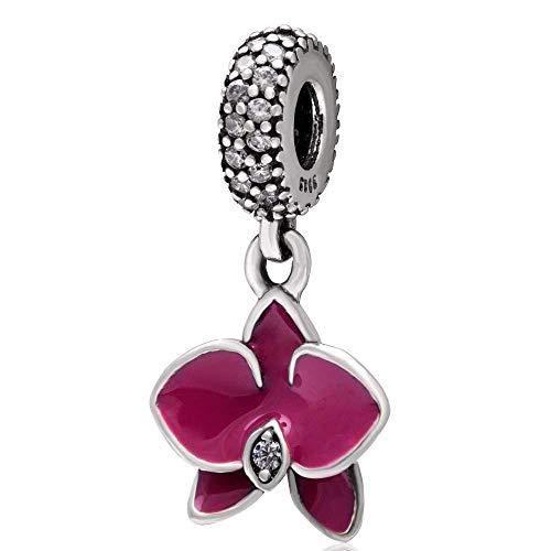 Charm in argento Sterling 925 con orchidea a forma di fiore, per anniversario, Natale, cuore, per braccialetti Pandora