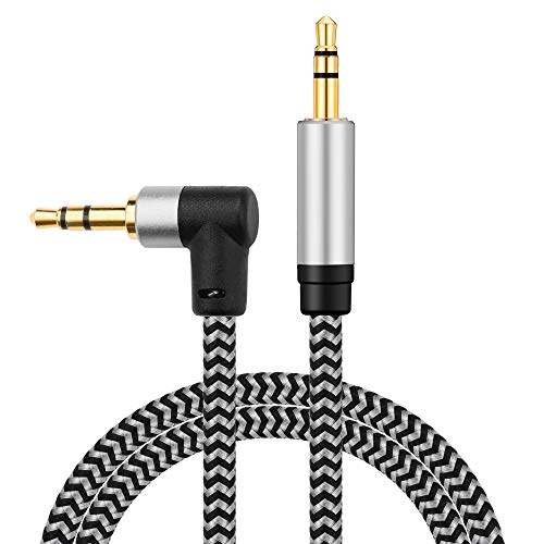Morelecs Right Angle Aux Cable, 3.5mm Auxiliary Audio Cable 20ft Nylon Braided Male to Male AUX Cord Compatible for Headphones, iPods, iPhones, iPads, Home/Car Stereos and More (Grey)