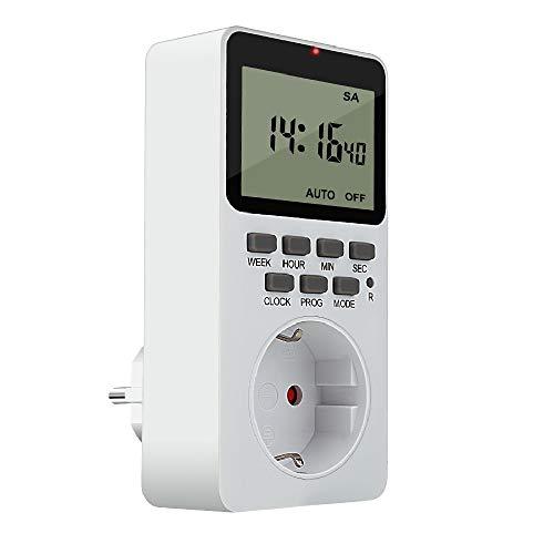 Digitale Zeitschaltuhr Steckdose, HOSPAOP Elektronische Timer Steckdose Programmierbare mit 20 konfigurierbaren Schaltprogramme, Anti-Theft-Modus, LCD Display für Beleuchtung (16A/3600W)