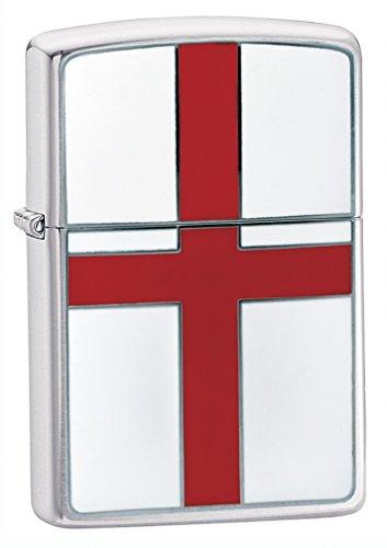 Zippo Flag Emblem Sturmfeuerzeug mit St. Georges Flagge, gebürstetes Chrom, zutreffend