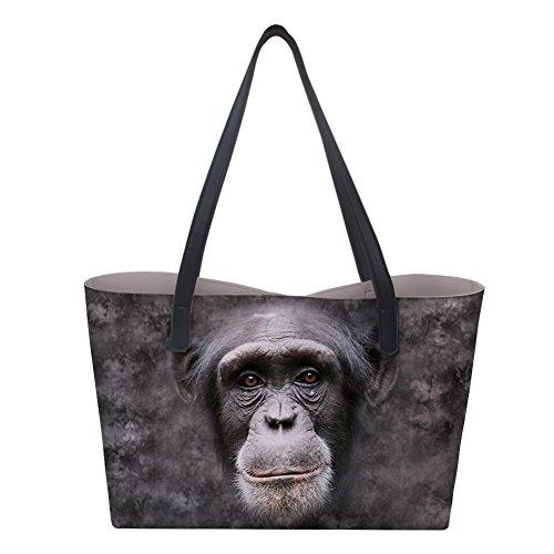 AXGM Damen Stilvolle Tragetasche Gorilla Tier Große Handtaschen Leder Schultertasche Frau Umhängetasche Hobo Set Mädchen Schule Satchel Pool Strandtasche mit Geldbörse