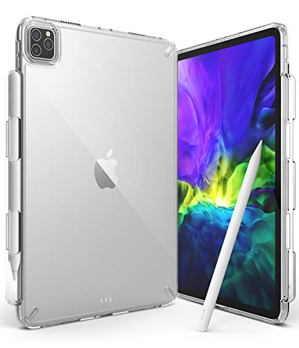 Ringke Fusion Case Compatible with iPad Pro 11 Inch 2021, Clear Shockproof TPU Bumper Hard PC Back Cover with Overcharge Protection Pen/Pencil Holder - Clear